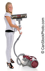 girl and vacuum cleaner