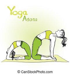 girl and woman doing yoga poses