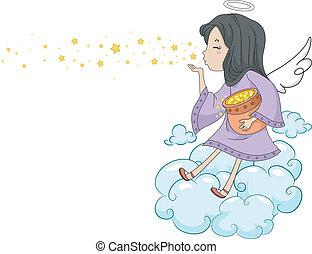 Girl Angel Blowing Stars