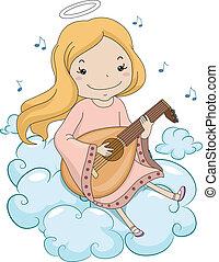 Girl Angel Playing Lute