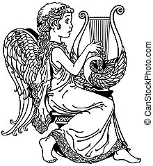 girl angel playing lyre black and white