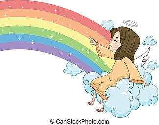 Girl Angel Sitting on Cloud with a Rainbow
