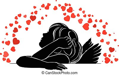 Girl angel with red hearts - Silhouette girl angel with red...