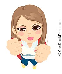 Girl Angry Up View