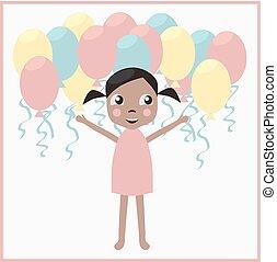girl, anniversaire, ballons