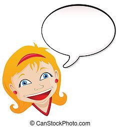 Girl announcement with speech bubble. Editable Vector...