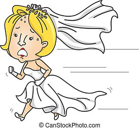 Girl Anxious Runaway Bride Late - Illustration of an Anxious...