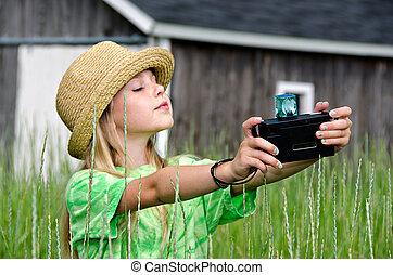 girl, appareil photo, démodé