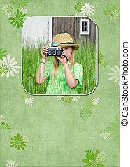 girl, appareil photo, jeune, vieux