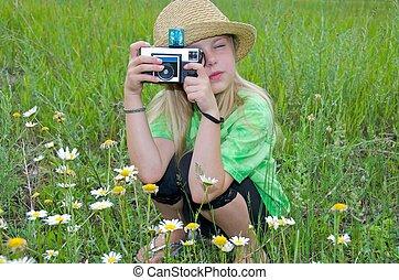 girl, appareil photo, vieux