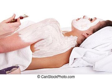girl., applicare, maschera, massage., estetista