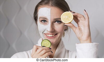 Girl Applies Face Mask