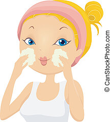 Illustration of a Girl applying Facial Wash on her face