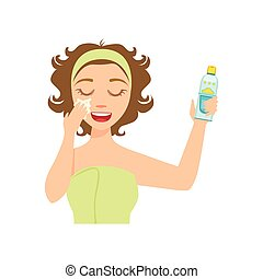 Girl Applying Sun Protecting Facial Lotion, Woman With Closed Eyes Doing Home Spa Procedure Illustration