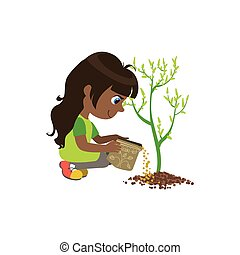 Girl Applying The Fertiliser
