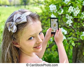 girl, arbre., instantané, floraison