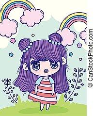 girl, arcs-en-ciel, anime, brioche, feuilles, pré, cheveux, mignon