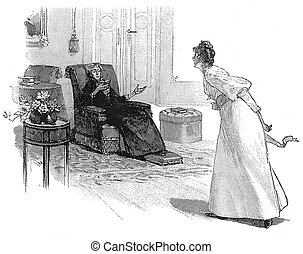 Girl arguing with old woman reading a book in the parlor