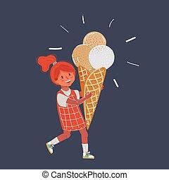 girl, arrière-plan., illustration, sombre, vecteur, crème, manger, peu, glace