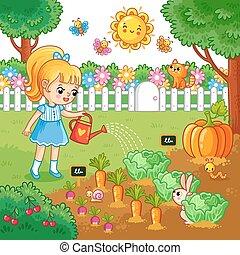girl, arrosage, jardin, lit, vegetables.