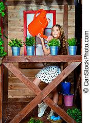girl, arroser fleurs, enfant
