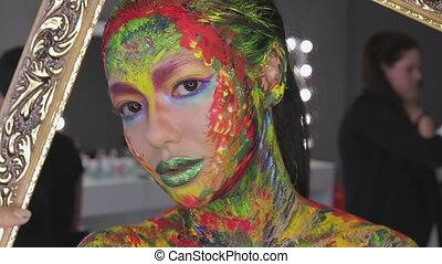 Girl art makeup watercolor - Face of beautiful woman...