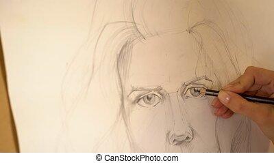 Girl artist paints portrait of woman with pencil. 4k -...