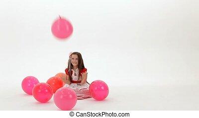 girl, assied, ballons