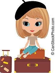 girl, assied, joli, valise