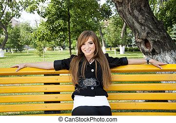 girl, assied, parc, jeune, banc