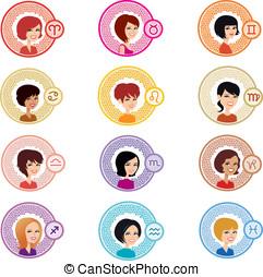 girl, astrologic, ensemble, complet, signes