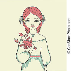 Girl. Astrological sign - Astrological sign is Cancer. Girl...