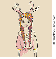 Girl. Astrological sign - Girl with horns. Astrological sign...