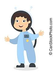 girl., astronaute, isolé