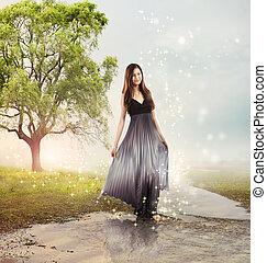 Girl at a Brook - Beautiful Young Girl at a Magical River