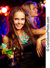 Girl at bar - Girl in a stylish outfit standing at a bar...