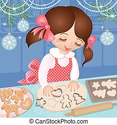 Girl at Christmas and baking cookie