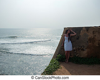 Girl at fort of Galle in Sri Lanka