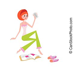 Vector illustration of young girl at home with phone and fashion magazine