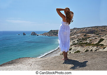 Girl at the Aphrodite birthplace, Cyprus