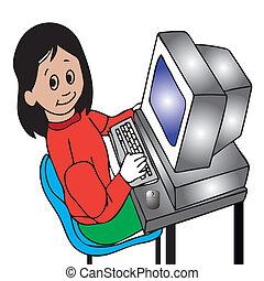 girl at the computer