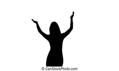 Girl at the concert is dancing and hands up claps. White background. Silhouette