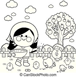 Girl at the farm feeding the chickens.  Vector black and white coloring page