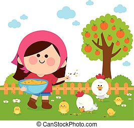 Girl at the farm feeding the chickens. Vector illustration