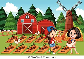 Girl at the farm