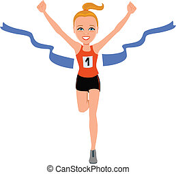 Illustration of a girl at the finishing line, winning!
