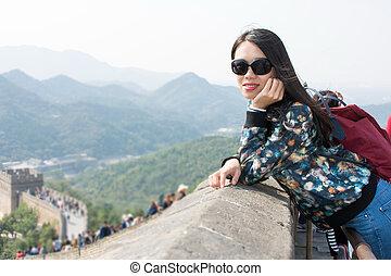 Girl at the Great wall of China