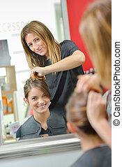 Girl at the hairdresser