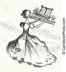 Girl at the piano vintage card