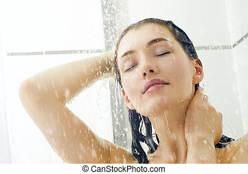 girl at the shower - a beautiful girl standing at the shower